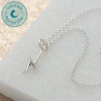 Personalised Lightning Bolt Charm Necklace