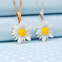 Hand Painted Daisy Pendant Necklace