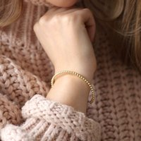 Dotted Ball Bangle In Gold, Gold