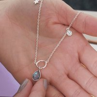 Sterling Silver Gemstone Halo Necklace, Silver