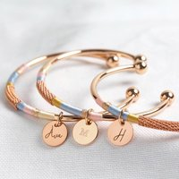 Personalised Rose Gold Wrapped Bangle In Blue And Pink, Gold