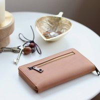 Long Leather Zip Pocket Purse, Camel Tan