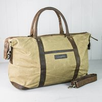 Personalised Canvas And Leather Holdall With Tag