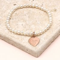 Girls Personalised Rose Gold Charm Pearl Bracelet, Gold