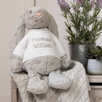 Personalised Bashful Silver Bunny Large Soft Toy