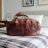 Large Leather Travel Bag With Pocket, Brown
