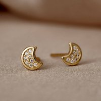 Pave Moon 9ct Gold Stud Earrings With Cubic Zirconia, Gold