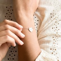 Personalised Chloe Initial Heart Bracelet, Silver/Rose Gold/Rose