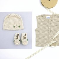 Flower Organic Hat And Booties Set, Sand/Pink