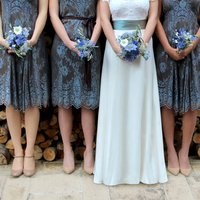 Winter Blue And Chocolate Lace Bridesmaid Dresses, Blue