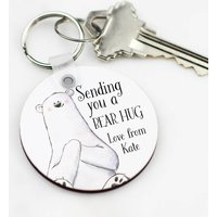 Personalised Sending You A Bear Hug Keyring Keepsake