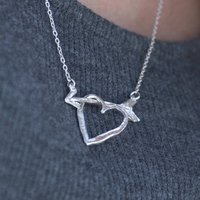 Love Struck Silver Arrow And Heart Necklet, Silver