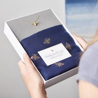 Bee Scarf And Gold Necklace Gift Set, Gold