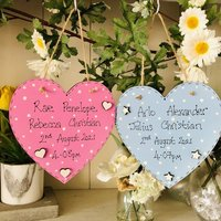 Personalised New Baby Twins Wooden Hearts
