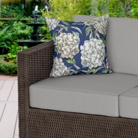 White Hydrangeas Water Resistant Outdoor Cushion