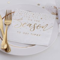 Gold Foiled Tis The Season To Get Tipsy Paper Napkins