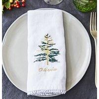 Personalised Embroidered Christmas Tree Napkin