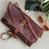 Leather Clutch Bag, Shoulder Bag, Brown