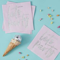 Pink Iridescent Foiled Lets Party Paper Napkins