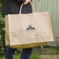 Personalised Deer Eco Jute Garden Storage Bag