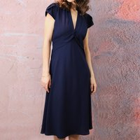 Petal Sleeve Forties Style Dress In French Navy Crepe
