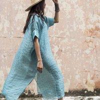 Luxurious Hand Woven Linen Kaftan