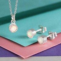 Opal Birthstone Silver Jewellery Set, Silver