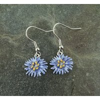 Aster Blue Flower Drop Earring