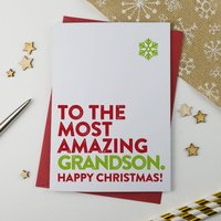 Most Amazing Grandson Christmas Card