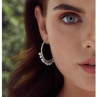 June Pearl Birthstone Hoop Earrings
