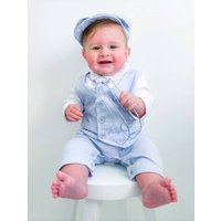 Baby Boys All In One Linen Outfit With Hat