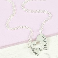 Sterling Silver Mother And Daughter Heart Necklace Set, Silver
