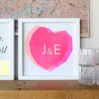 Couples Initials Heart Stencil Print