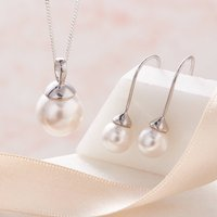 Pearl Necklace And Earring Set In Silver, Silver