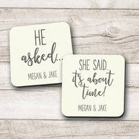 Personalised 'He Asked' 'She Said About Time' Coasters