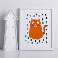 Thunder Bolt Cat Print, Black/White/Orange