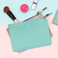 Personalised Leather Make Up Bag, Mulberry/Navy/Mint Green