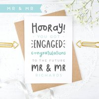 Personalised Mr And Mr Engagement Card, Pink/Blue/Purple