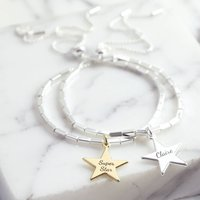 Personalised Star Beaded Bar And Chain Bracelet