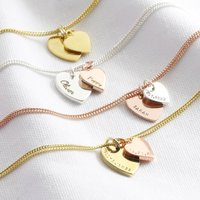 Personalised Sterling Silver Double Heart Bracelet, Silver