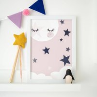 Pink Moon Asleep Children's Nursery Print