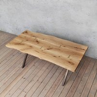 Chelsea X Shaped Live Edge Oak Dining Table