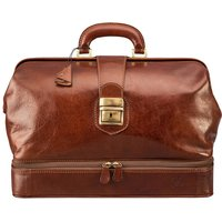 Personalised Leather Doctors Bag.'The Donnini L', Chestnut/Tan/Dark Chocolate