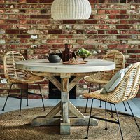 Reclaimed Wood Round Grey Dining Table