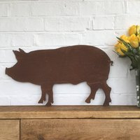 Pig Silhouette Garden Home Sign Ornament