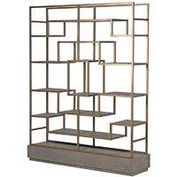 Bardon Oak And Brass Multi Shelf Shelving Display Unit