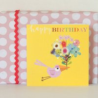 Happy Birthday Birdie Bouquet Greetings Card