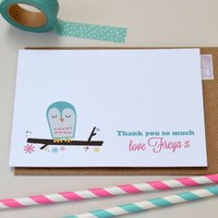 Pack Of 12 Personalised Owl Cards, Pink/Turquoise Blue/Turquoise