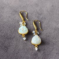 Druzy, Diamond And Moonstone Statement Earrings