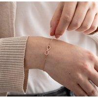 Rose Gold Sterling Silver Infinity Bracelet, Silver